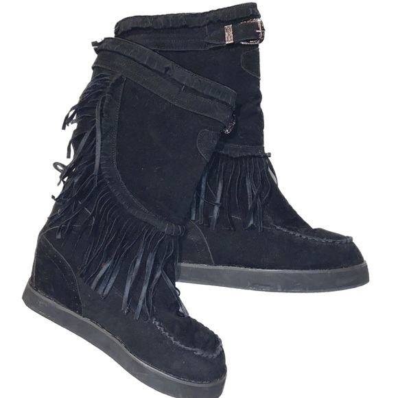 Black Fringed Moccasin Boots
